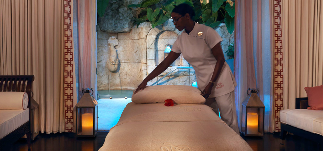 A treatment room at the Spa at Sandy Lane in Barbados