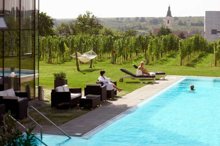 The pool and surrounding vineyards at LOISIUM Wine Spa Langenlois