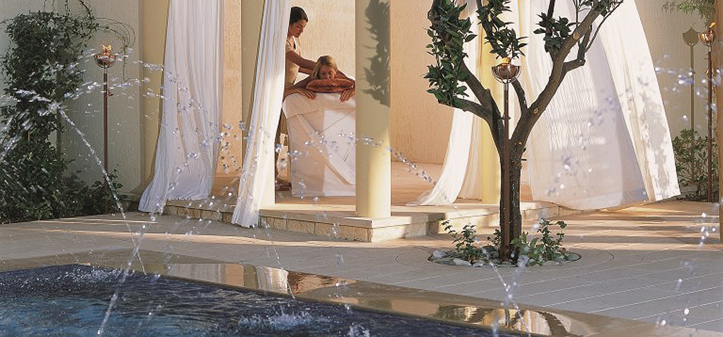 An outdoor treatment at The Retreat Spa at Aphrodite Hills Resort