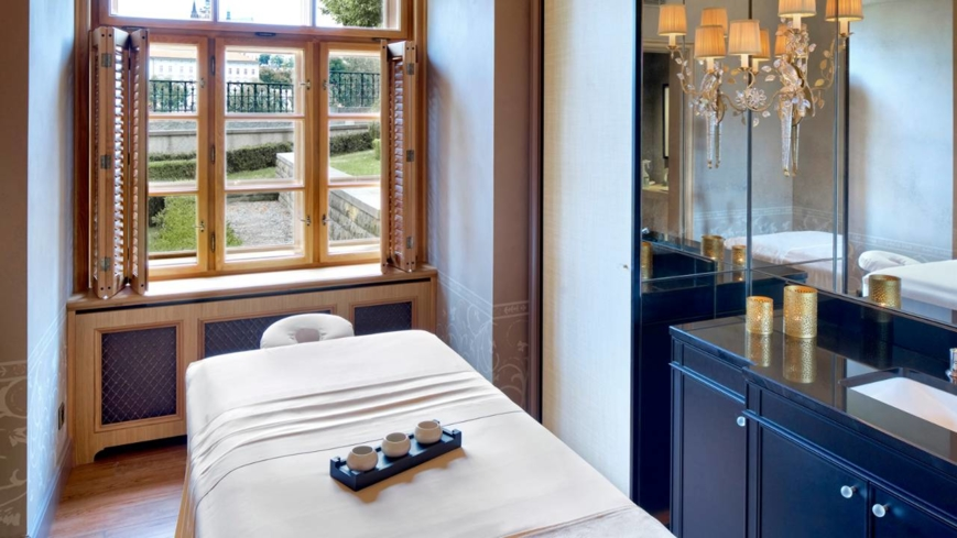 A treatment room with a view at AVA Spa at the Four Season Hotel Prague