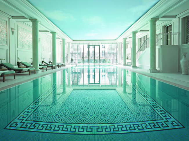 The pool surrounded by outdoor terrace at CHI, The Spa at Shangri-La