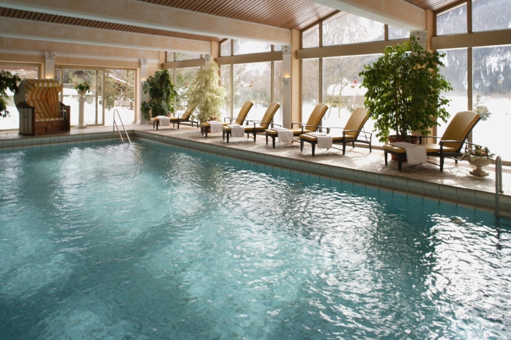 Do a few laps in the indoor swimming pool at Der Alpenhof Spa