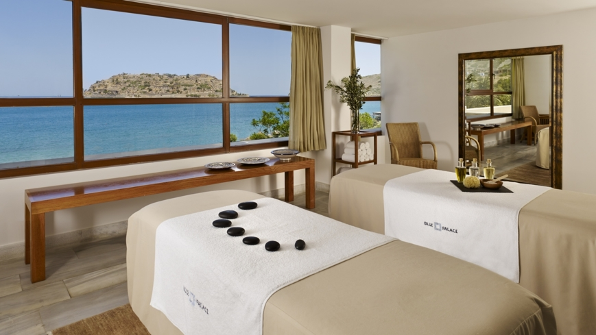 A treatment room with a view at The Elounda Spa & Thalassotherapy