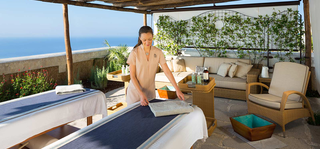 Take your treatments outdoors at The Spa at Monastero Santa Rosa Hotel