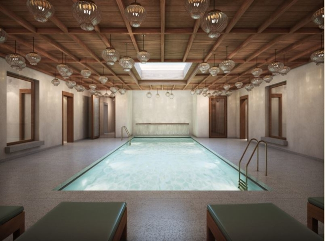 The indoor pool at Santuario LeDomaine at Abadia Retuerta Hotel
