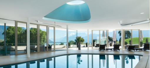 The pool at Clinique La Prairie Medical Spa, a top spa in Switzerland