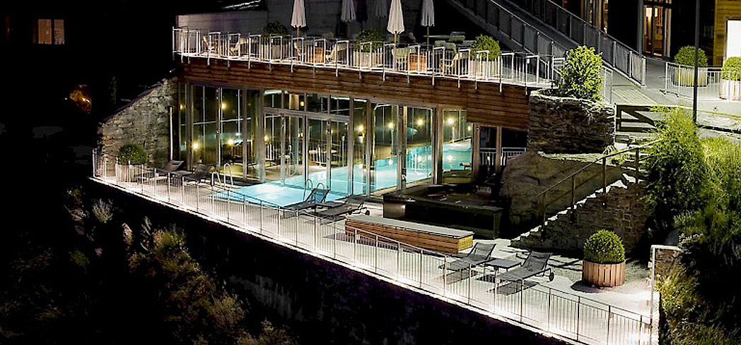 The indoor/outdoor pool at The Omnia Spa