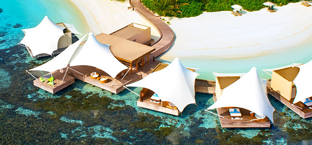 The outdoor treatment areas of AWAY Spa at the W Maldives