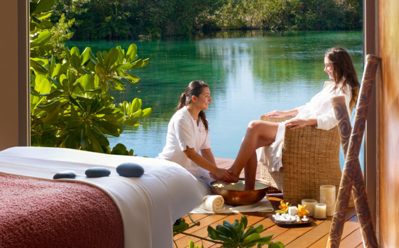 Enjoy a relaxing foot massage at Sense, A Rosewood Spa