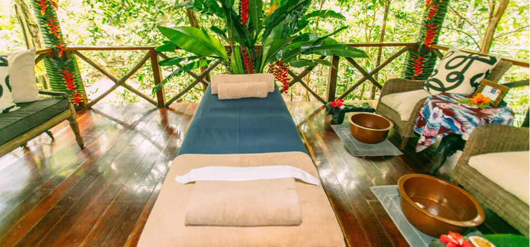 A treatment room at Jungle Spa at Qamea Resort & Spa