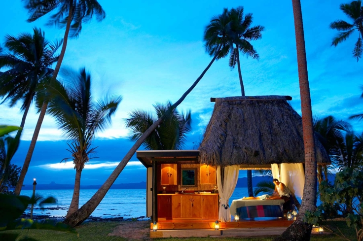 A beach-side treatment bure at the Jean-Michel Cousteau Resort Fiji Spa