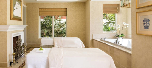 A couples treatment room at the Spa at Four Seasons Hotel Westlake Village