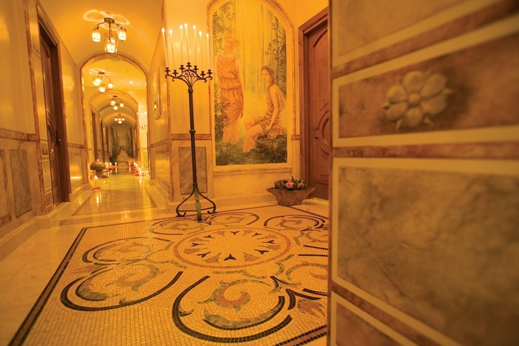 The Tuscan-inspired decor of Kelly's Spa at The Mission Inn Hotel & Spa