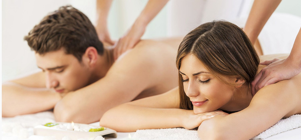 A couple's massage at Pure Blu inside Newport Beach Marriott Hotel & Spa
