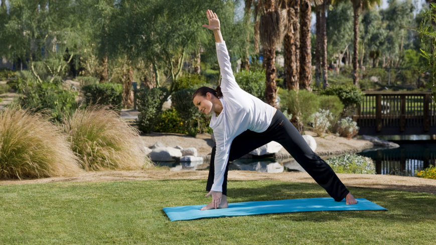 Decompress with yoga at Agua Serena Spa inside the Hyatt Regency Indian Wells Resort & Spa