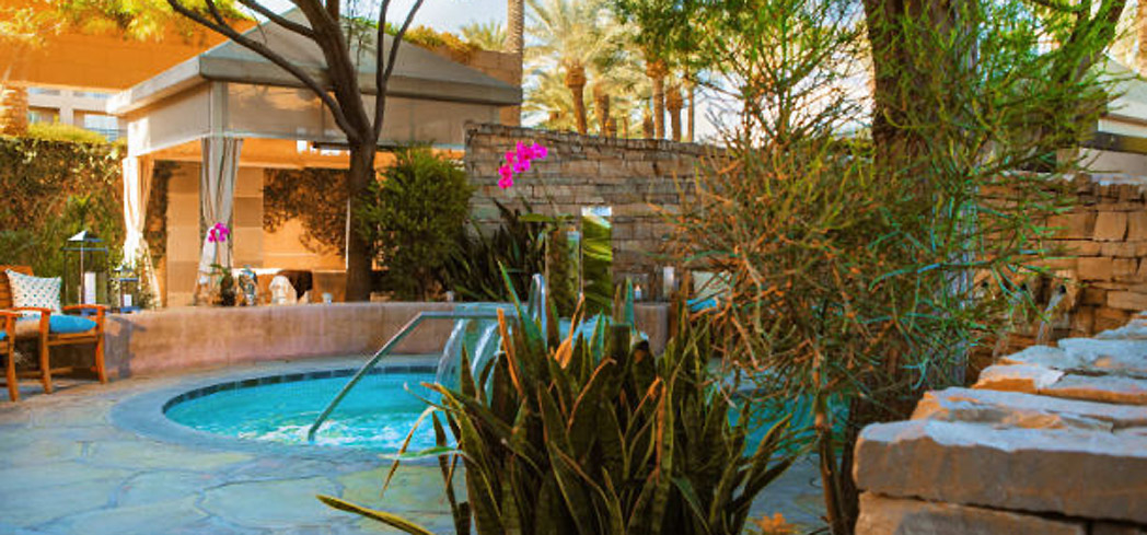 The pool and gardens at Spa Esmeralda at Renaissance Indian Wells Resort & Spa