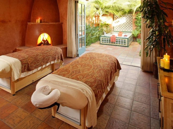 A couples treatment room at The Spa at Rancho Valencia