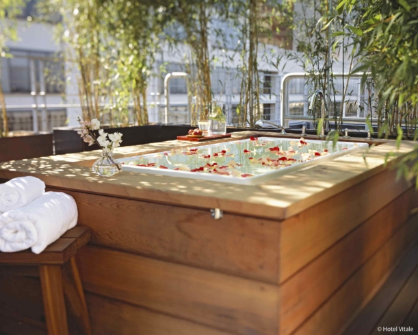 Soak in the lavender-milk infused outdoor bath at Spa Vitale, located on the penthouse level of Hotel Vitale in San Francisco