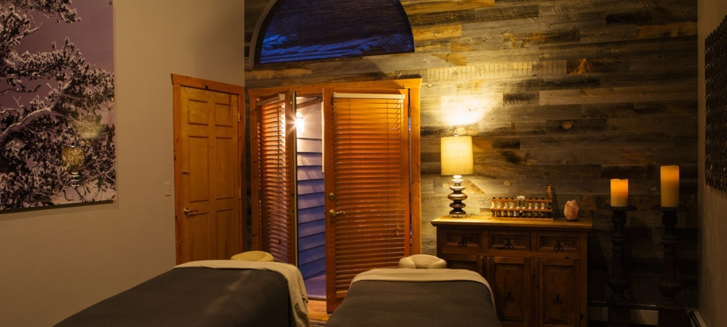 A treatment room at TallGrass Aveda Spa and Salon