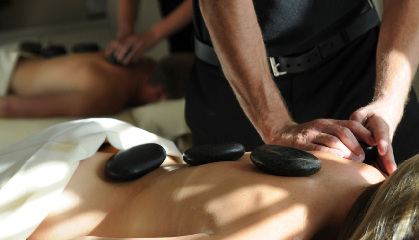 A hot stone massage at The Spa at The Peaks