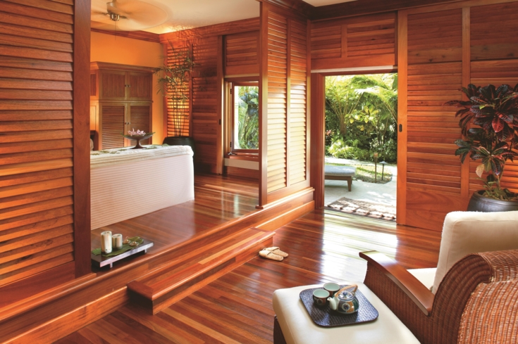 A treatment room at The Kahala Spa