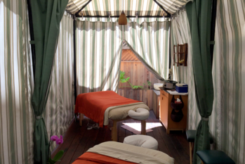 A couple's massage room in the Larchmont Sanctuary Spa