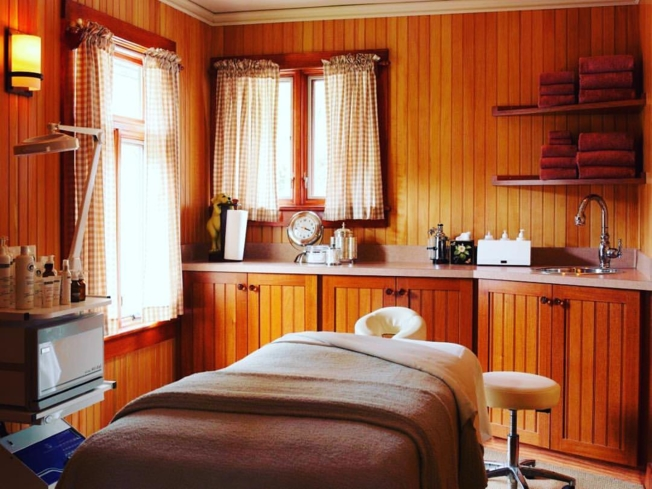 A treatment room at The Potting Shed Spa at Blantyre