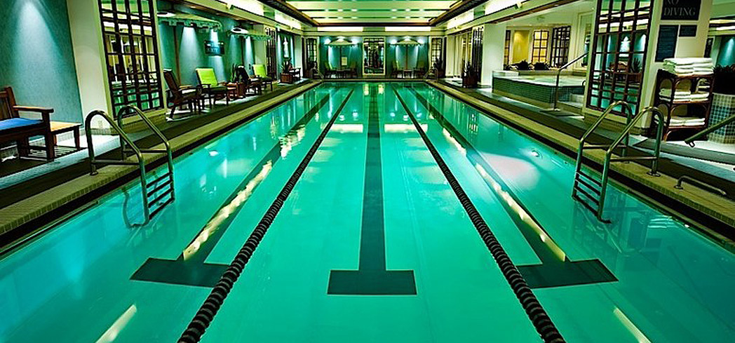 The lap pool at Rowes Wharf Health Club & Spa at the Boston Harbor Hotel