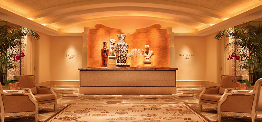 The reception area of The Spa at Wynn