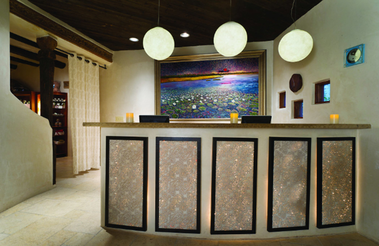 The reception area at Living Spa at El Monte Sagrado (Photo courtesy of Heritage Hotels & Resorts)