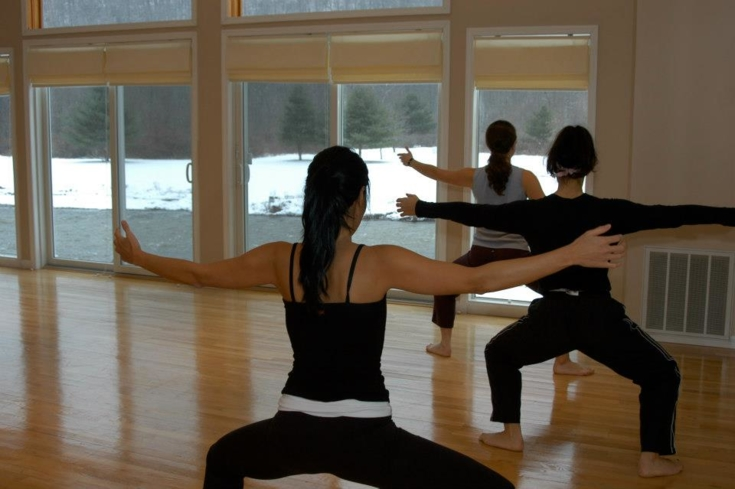 A fitness class at Copperhood Spa in Shandaken, New York