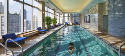 The 75-foot lap pool at the Mandarin Oriental New York
