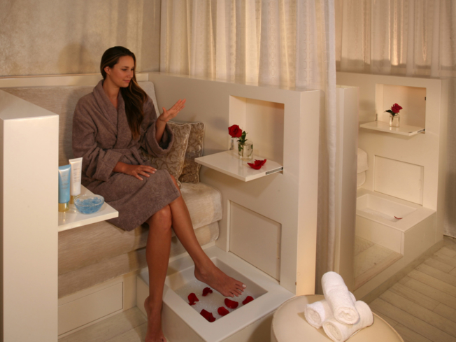 Manicure and pedicure services are offered at the Guerlain Spa located inside The Waldorf Astoria