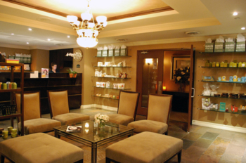 The redesigned lobby at Oasis Day Spa NYC, showcasing their vast spa and beauty product inventory