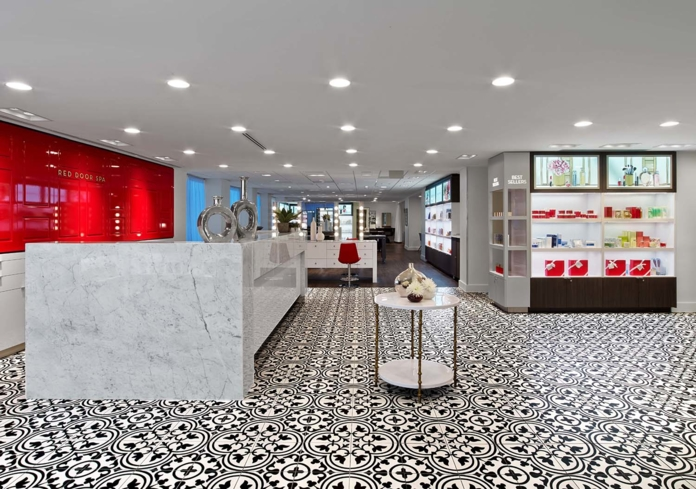 A bold cherry red accents all of Elizabeth Arden's Red Door Spa locations