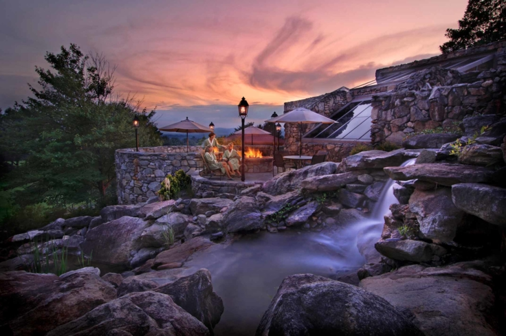 The Spa at The Omni Grove Park Inn has 20 water features, including waterfall pools