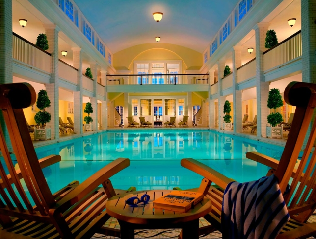 The indoor pool at Springs Eternal Spa at Omni Bedford Springs Resort