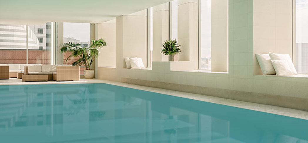 The indoor infinity pool at Remède Spa at the St. Regis San Francisco