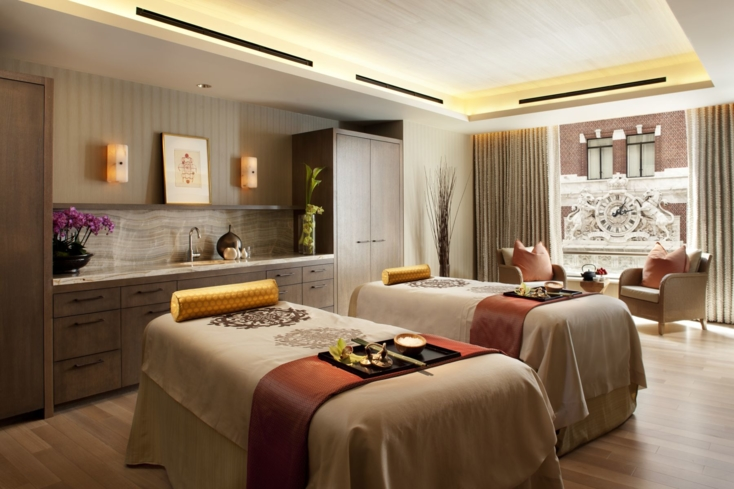 Take in the earthy tones and enjoy the privacy of the luxurious treatment rooms located in The Spa at Loews Regency San Francisco